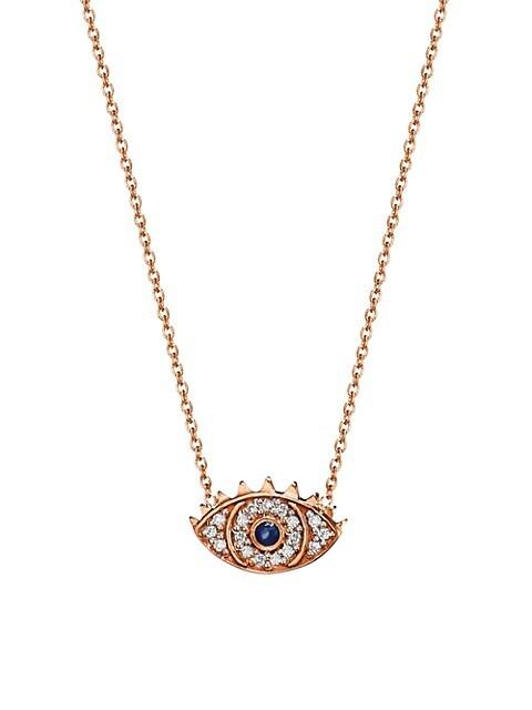 Ajna 18K Rose Gold, Diamond & Sapphire Eye Pendant Necklace