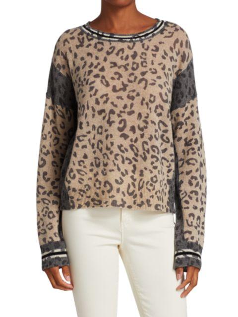 360 Cashmere Krystine Leopard Sweater | SaksFifthAvenue