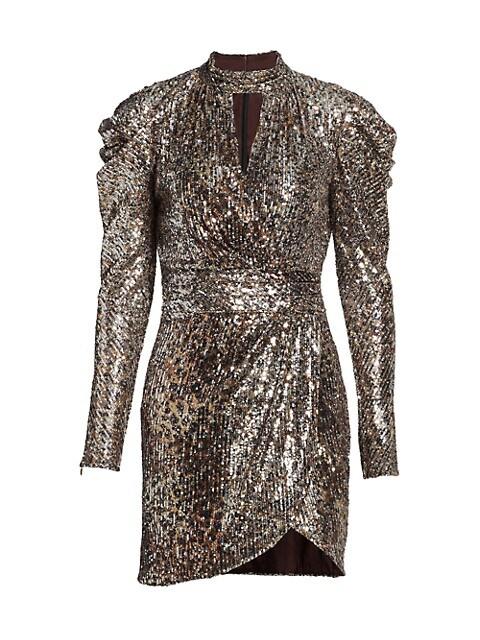 Mallory Sequined Long Puff-Sleeve Mini Dress