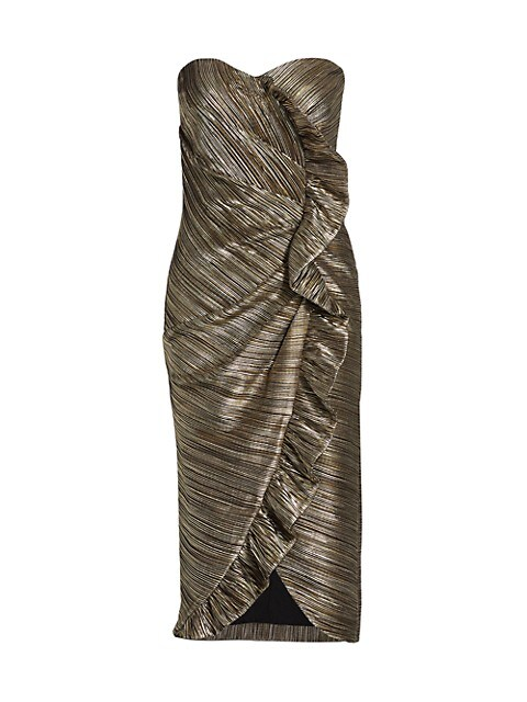 Dylan Metallic Plissé Strapless Midi Dress