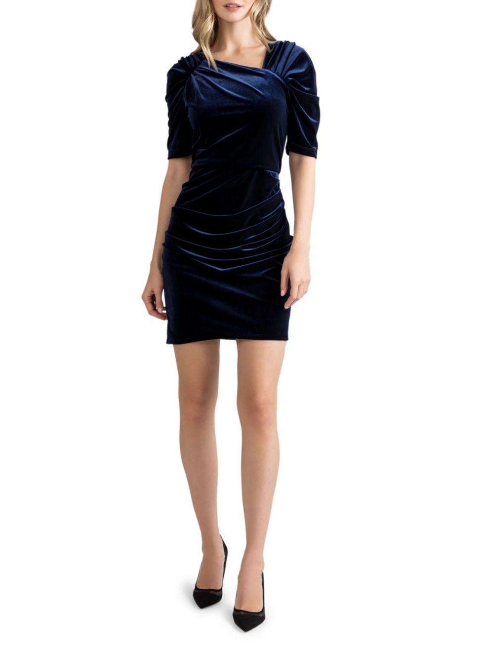 Shoshanna Allen Velvet Mini Dress   SaksFifthAvenue