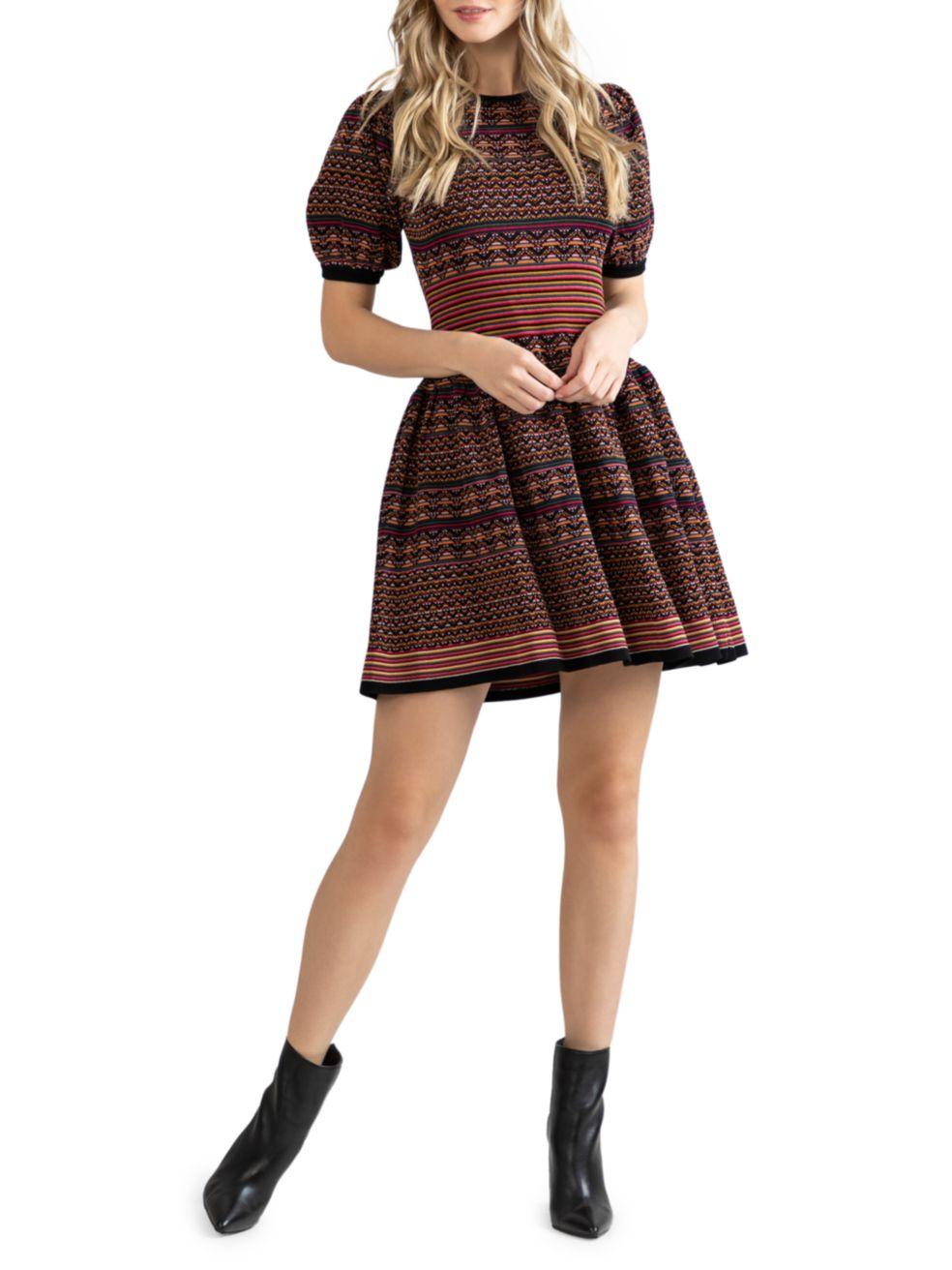 Shoshanna Tally Puff-Sleeve Mini Dress | SaksFifthAvenue