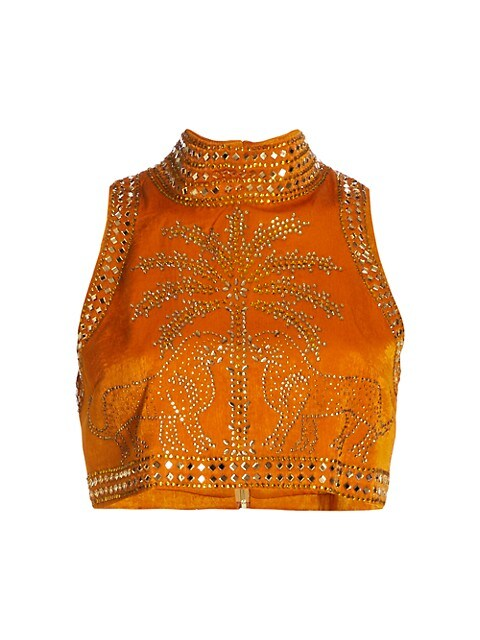 Strass Embellished Halterneck Crop Top