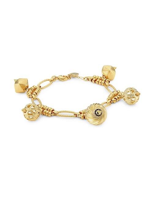 Havana 24K Goldplated Charm Bracelet