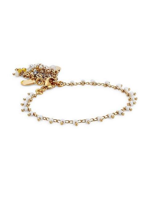 Gipsette 24K Goldplated & Glass Bead Bracelet