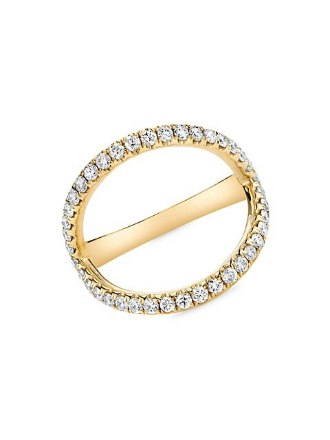 18K Yellow Gold & Diamond Arc Ring