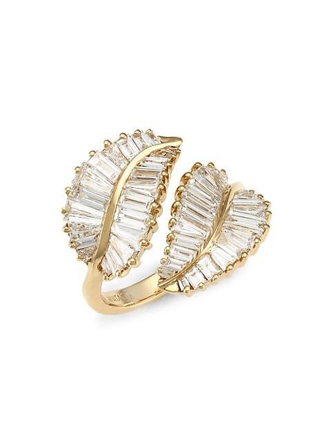 18K Yellow Gold & Baguette Diamond Palm Leaf Wrap Ring