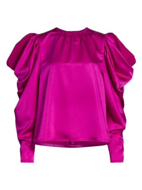 Tanya Taylor Astrid Draped Puff-Sleeve Top   SaksFifthAvenue