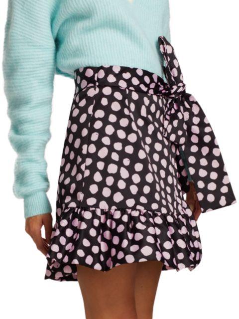 Tanya Taylor Daphne Polka Dot Flounce Mini Skirt | SaksFifthAvenue