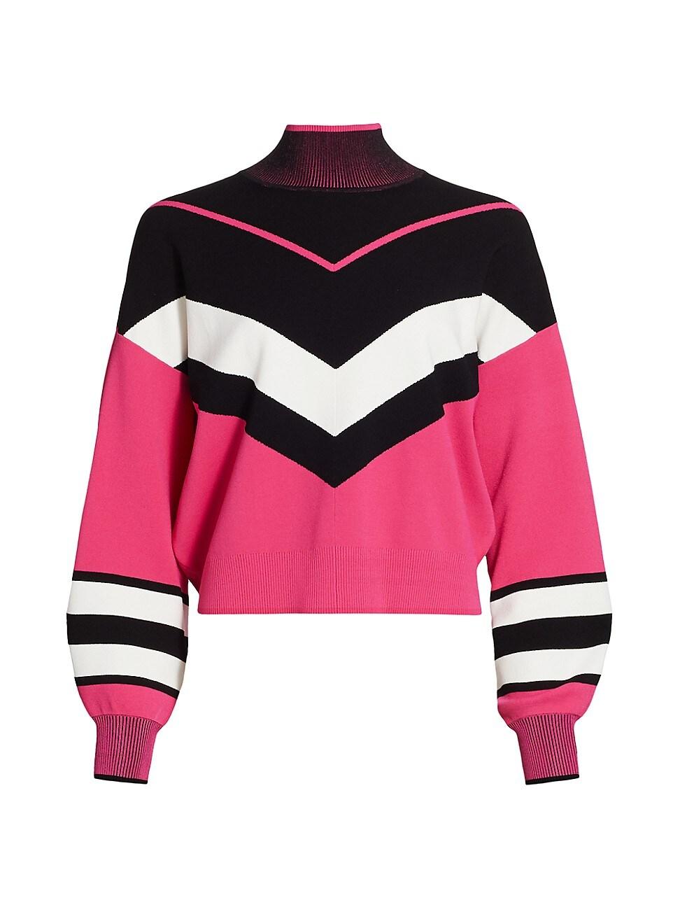 Tanya Taylor Women's Kyra Chevron Knit Turtleneck In Pink/ Black/ White
