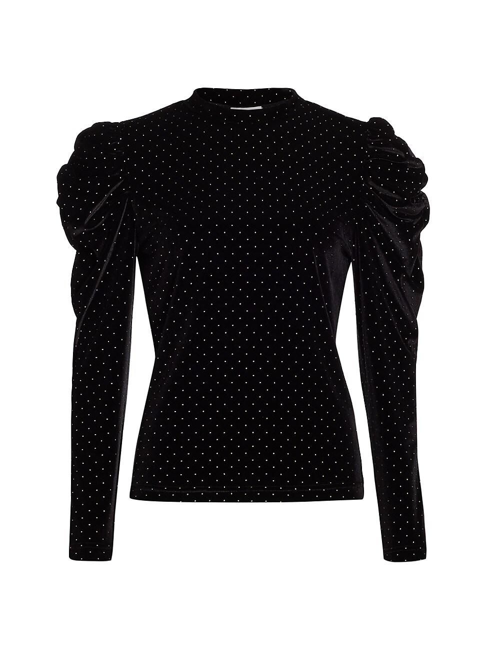 Tanya Taylor Women's Elsie Puff-sleeve Top In Black