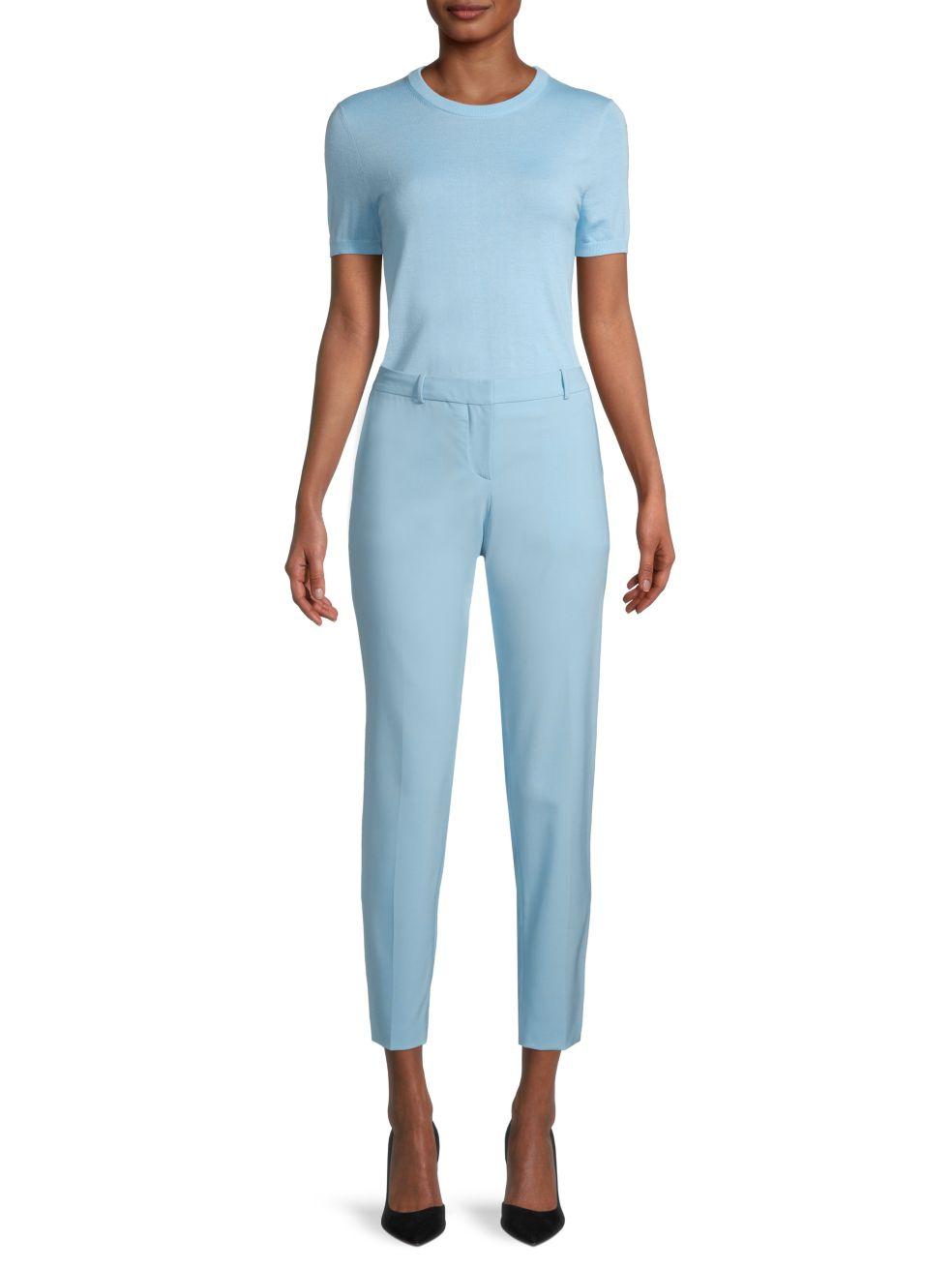 BOSS Falyssa Superfine Merino Wool Short-Sleeve Top   SaksFifthAvenue