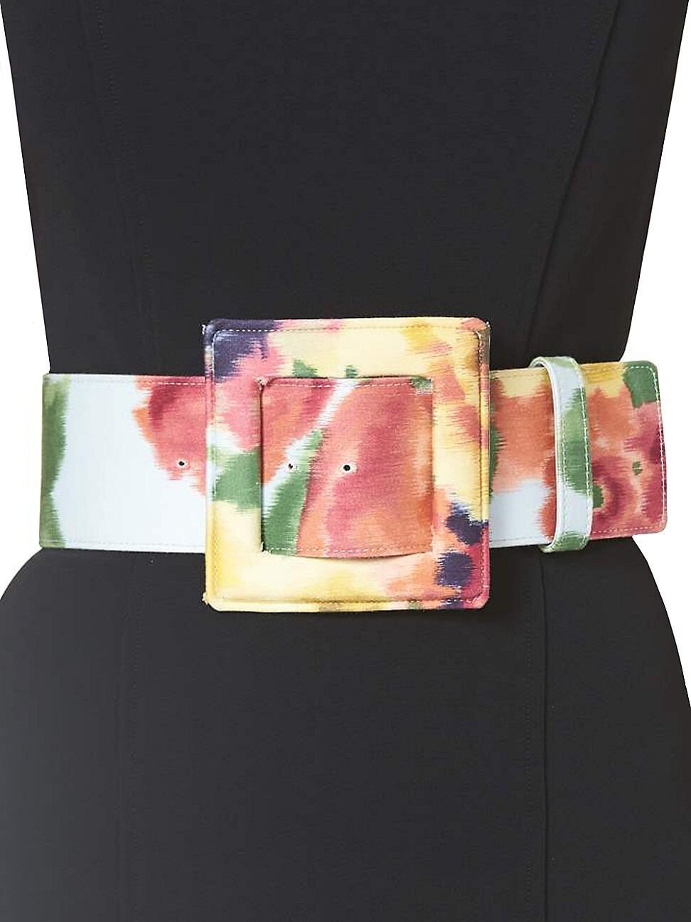 Carolina Herrera WOMEN'S SQUARE BUCKLE FLORAL BELT