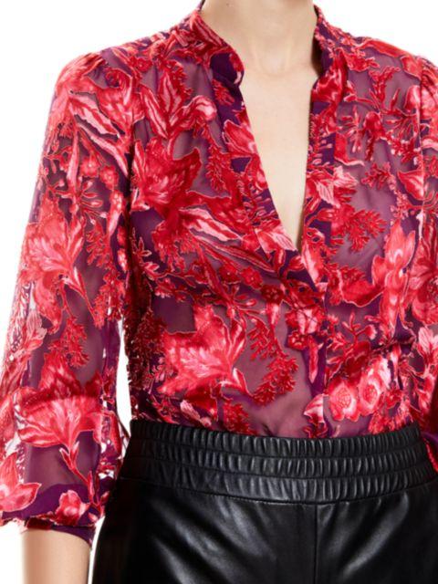 Alice + Olivia Sheila Blouson-Sleeve Top | SaksFifthAvenue