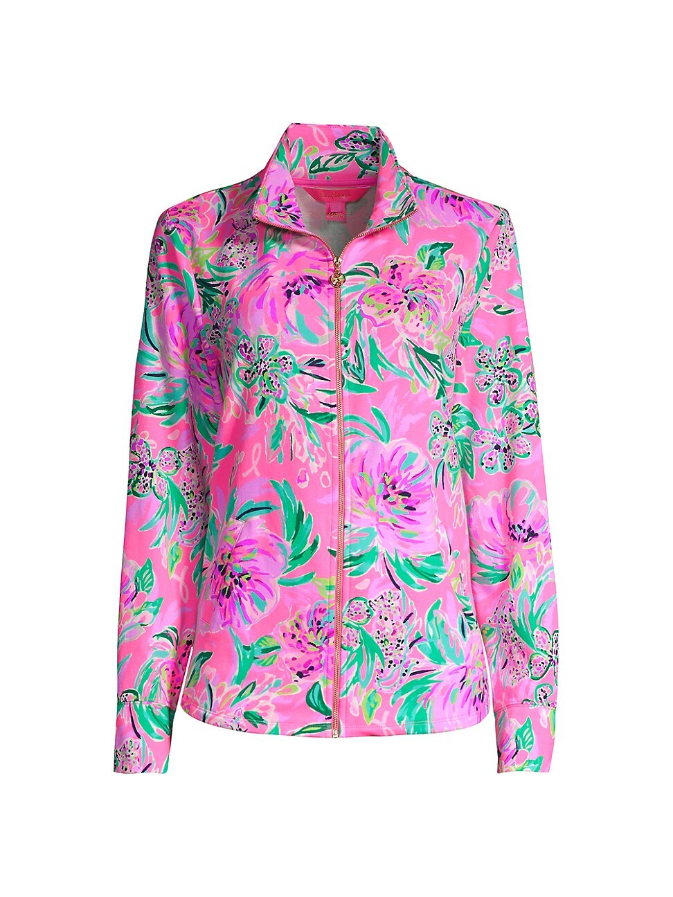 Lilly Pulitzer Upf 50+ Leona Round Hem Zip-up In Cockatoo Pink Paws For A Cause