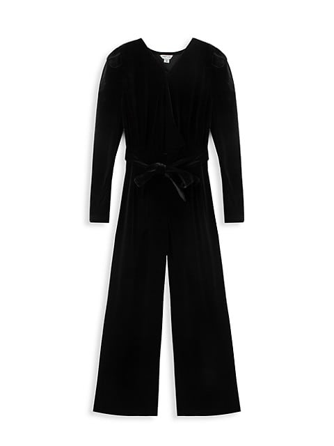 Girl's Belted Velour Jumpsuit