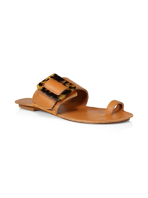 Loop Toe-Ring Leather Flat Sandals