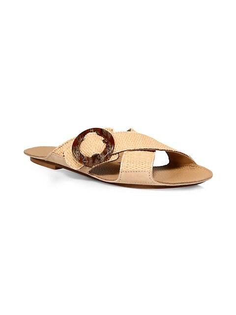 Loop Cross Raffia Flat Sandals