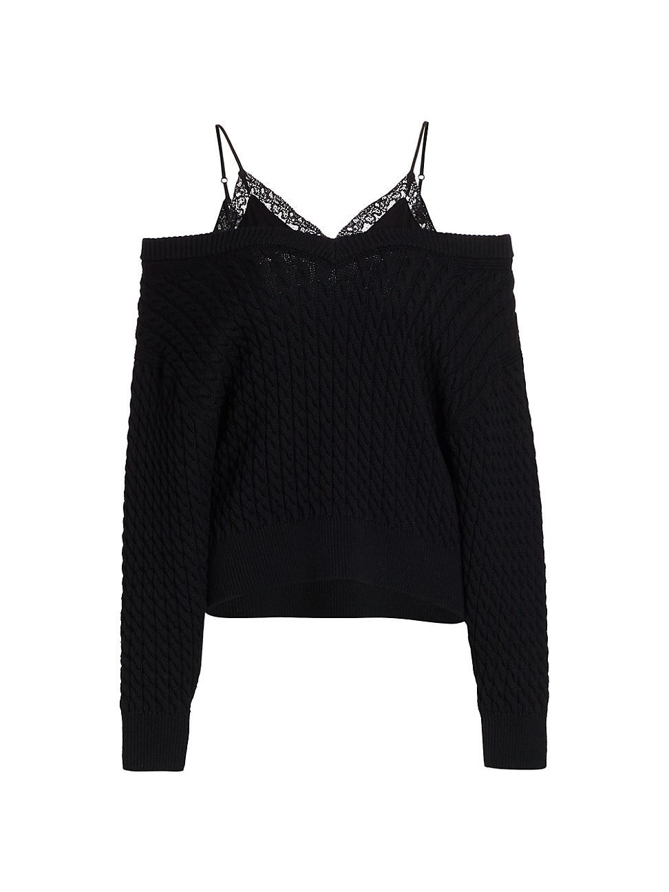 Alexander Wang T WOMEN'S BI-LAYER V-NECK CABLE PULLOVER WITH SATIN CAMISOLE - BLACK - SIZE LARGE