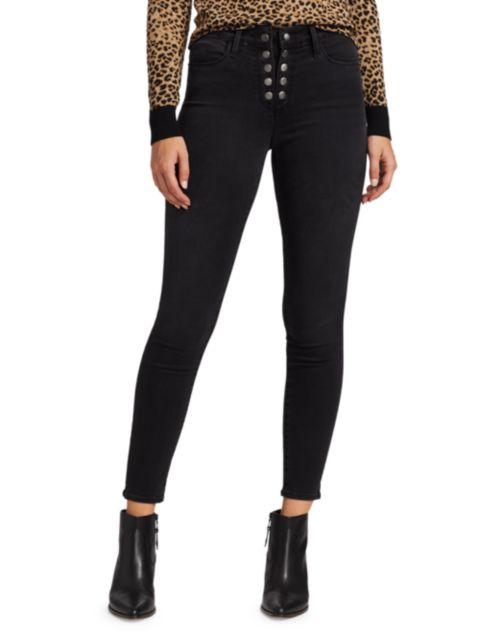 Frame Le High Snap Detail Skinny Jeans | SaksFifthAvenue