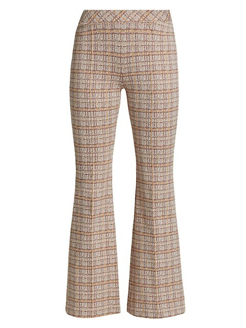 Pull-On Cropped Flare Plaid Pants