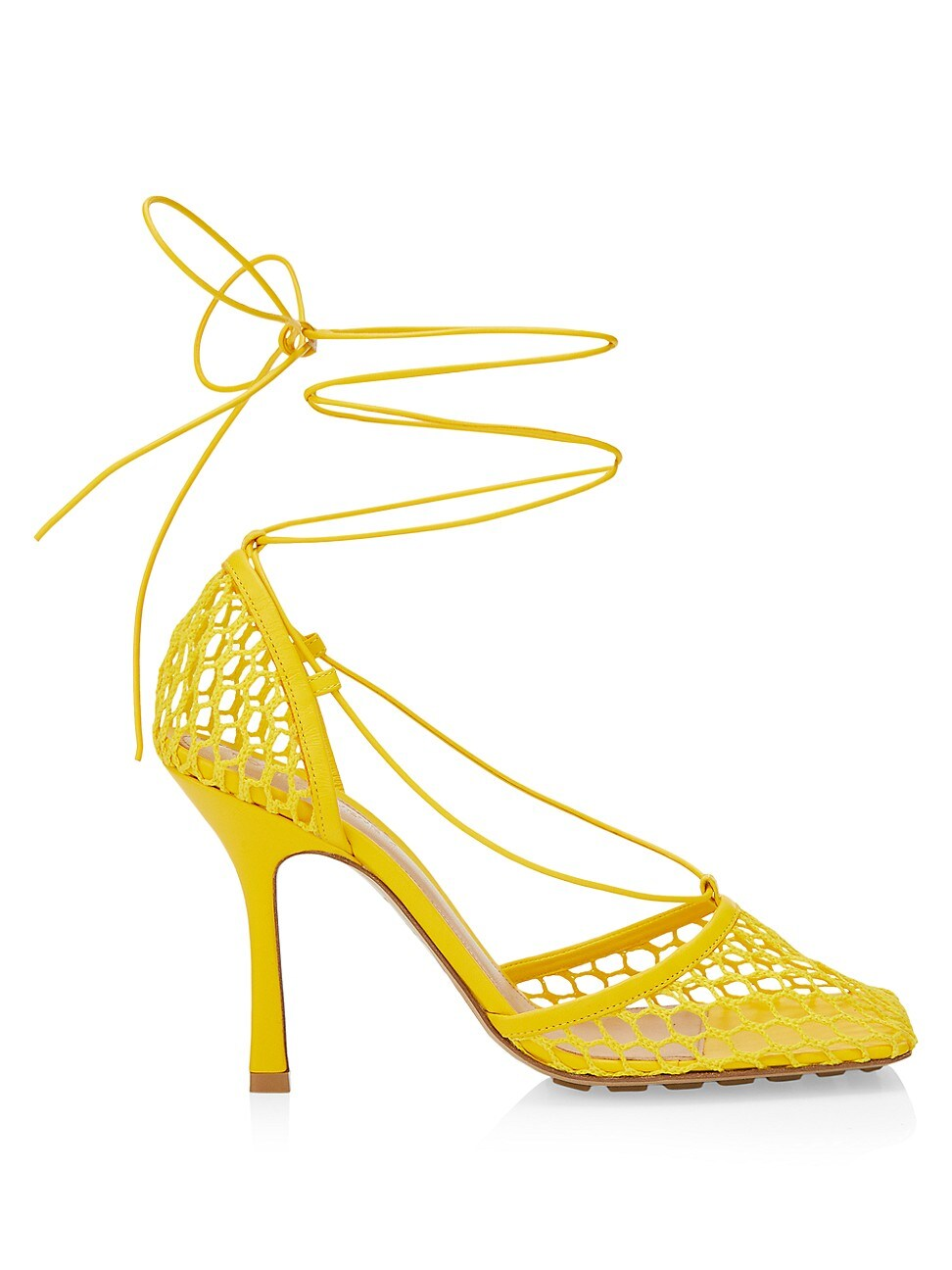 Bottega Veneta High heels WOMEN'S STRETCH SQUARE-TOE ANKLE-STRAP MESH PUMPS