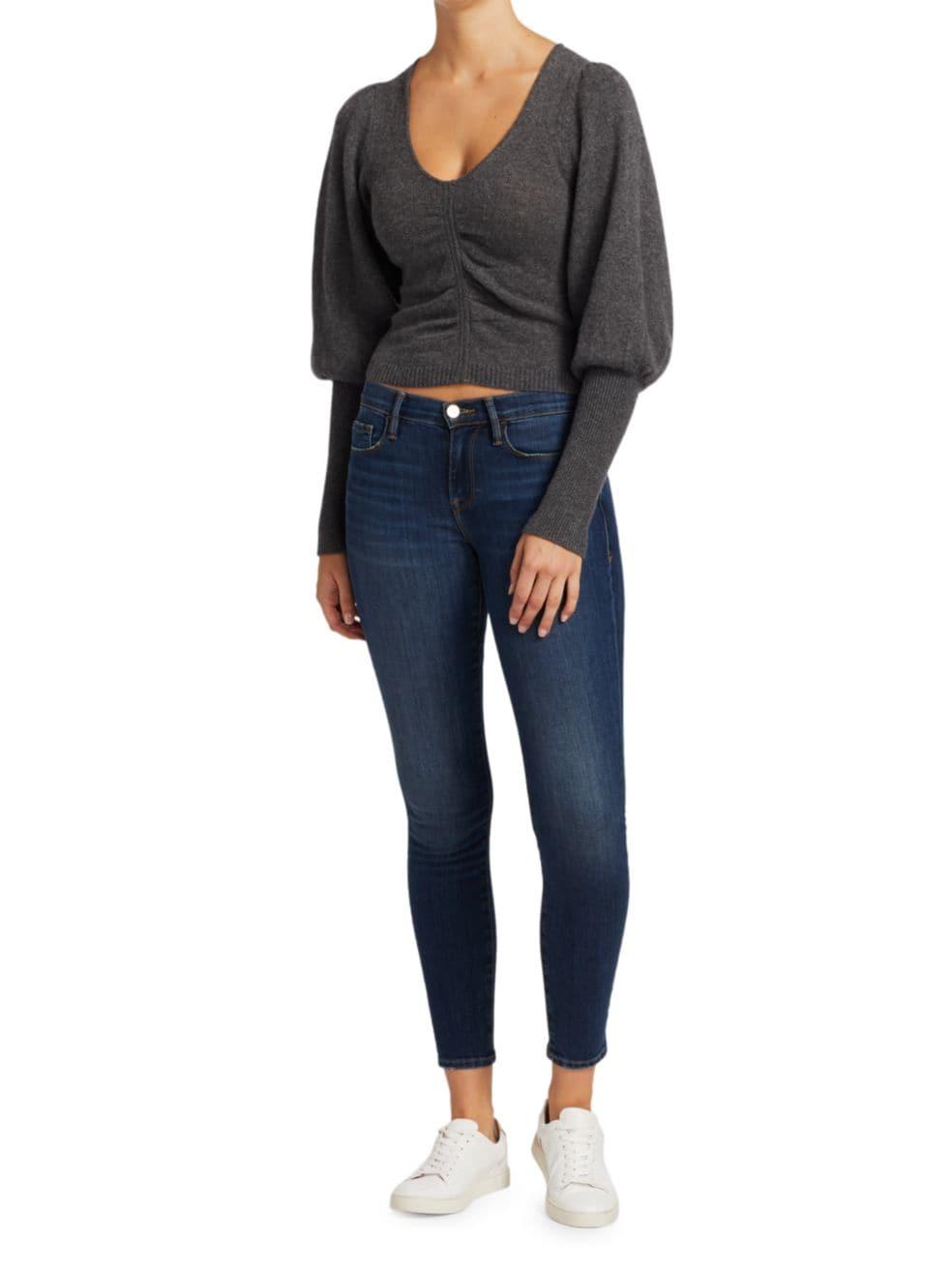 Frame Shirred Cropped Sweater   SaksFifthAvenue