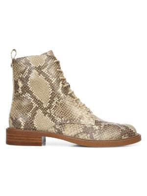 SAM EDELMAN Nina Snakeskin-Embossed Leather Combat Boots