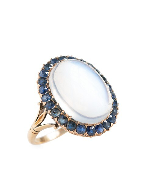 Victorian 15K Yellow Gold, Moonstone & Blue Sapphire Halo Ring