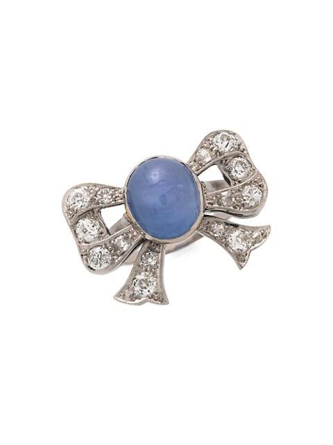 Art Deco Platinum, Cornflower Blue Star Sapphire & Diamond Bow Ring