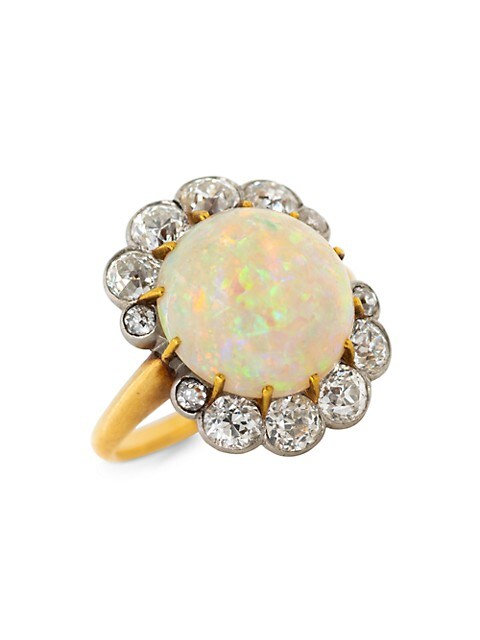 Vintage 18K Yellow Gold, Platinum, Opal & Antique French Belle Diamond Ring