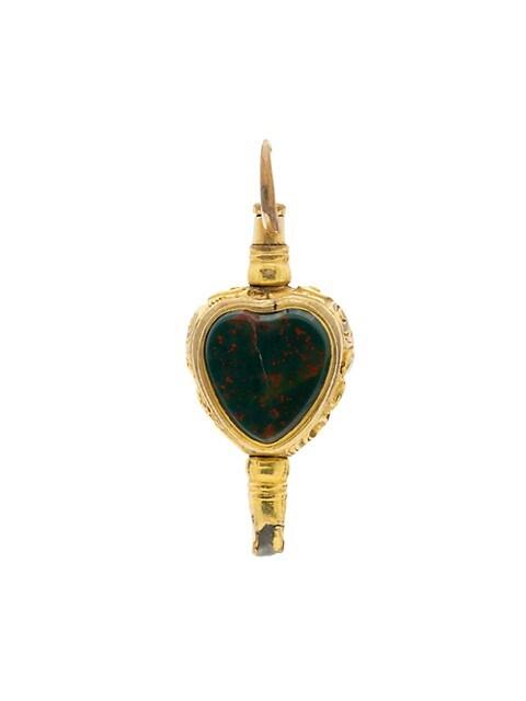 Early Victorian 15K Yellow Rock Crystal & Bloodstone Heart-Shaped Key Charm