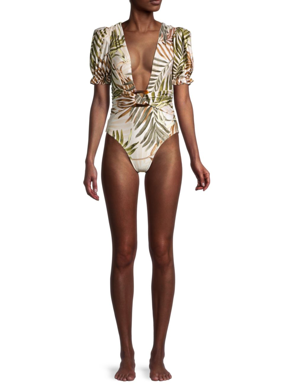 PatBO Palmeira Puff-Sleeve One-Piece Swimsuit   SaksFifthAvenue