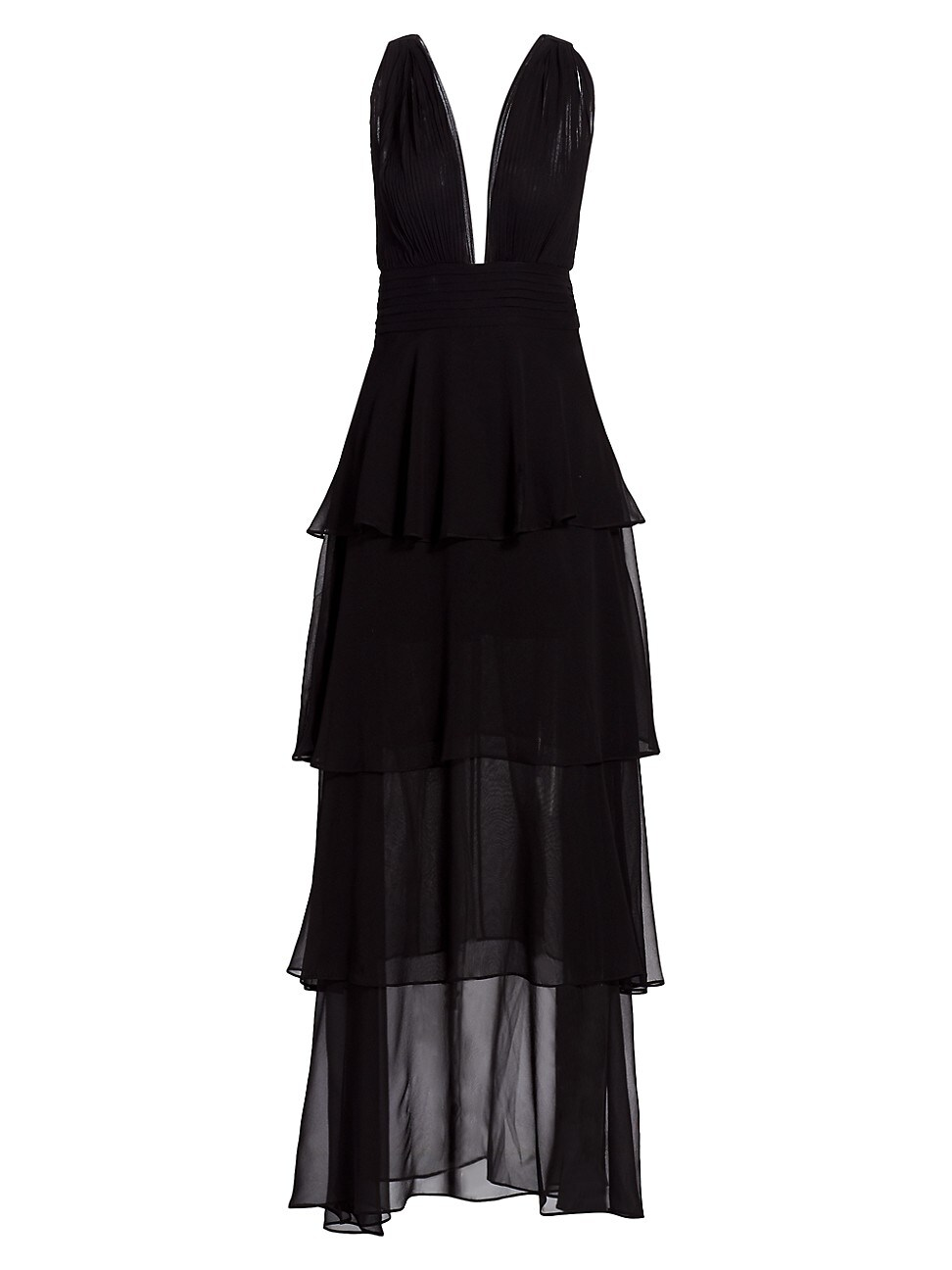 Retroféte WOMEN'S ELOISE PLUNGE TIERED SILK GOWN