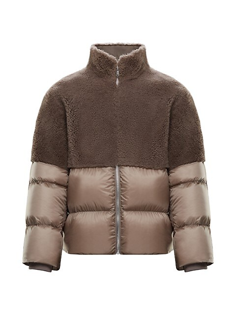 Coyote Woven & Shearling Down Coat