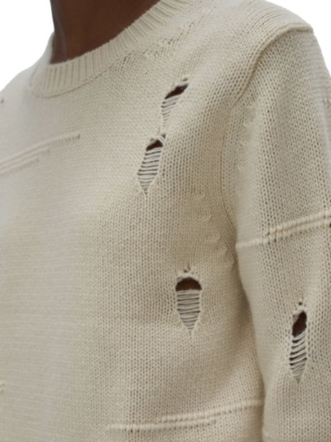 Helmut Lang Distressed Crewneck Sweater   SaksFifthAvenue