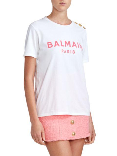 Balmain Printed Logo Button T-Shirt | SaksFifthAvenue