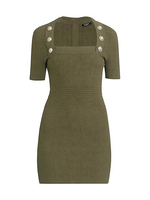 Short-Sleeve Button-Detailed Knit Dress