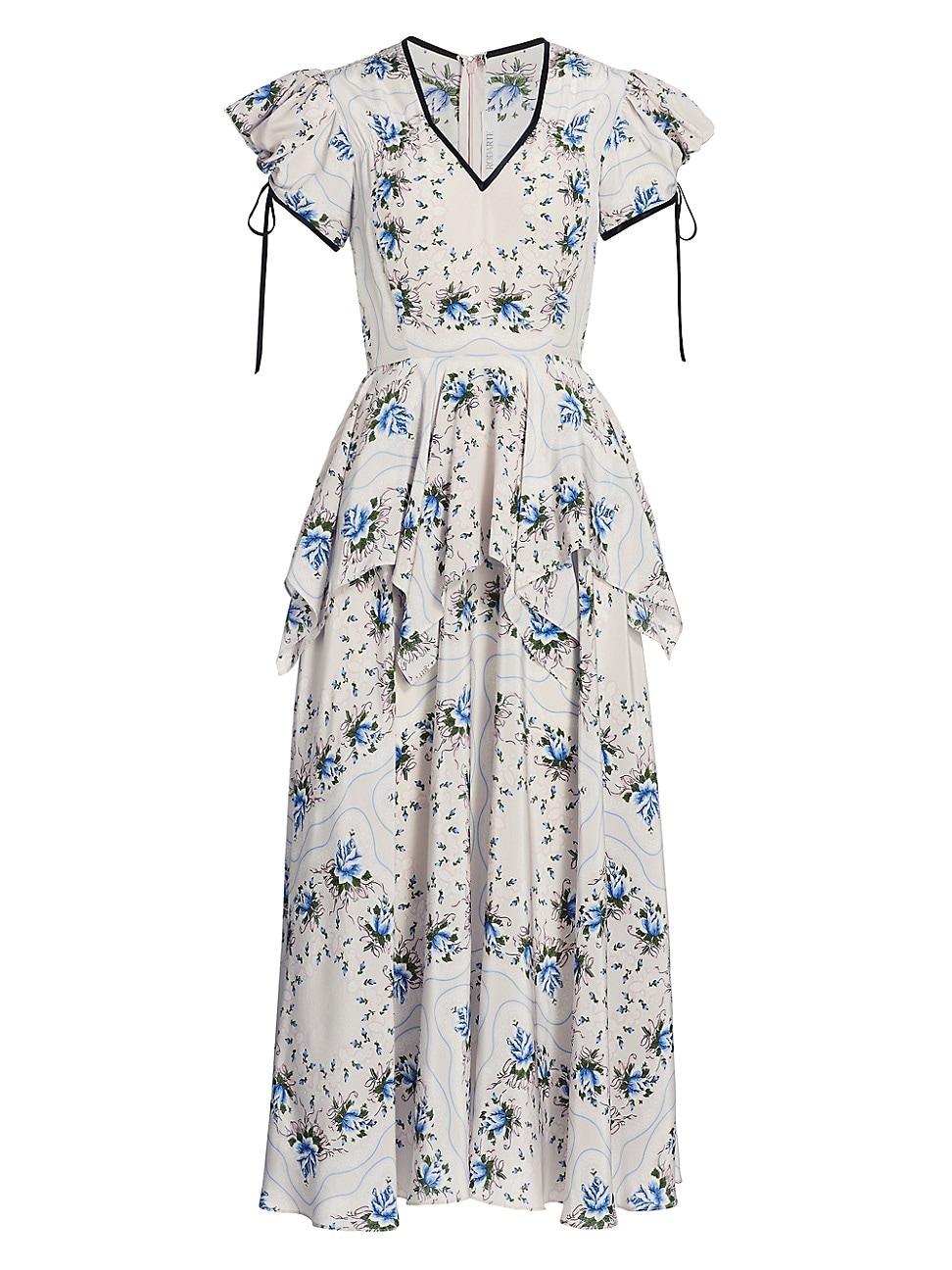 Rodarte WOMEN'S FLORAL-PRINT SILK PEPLUM DRESS