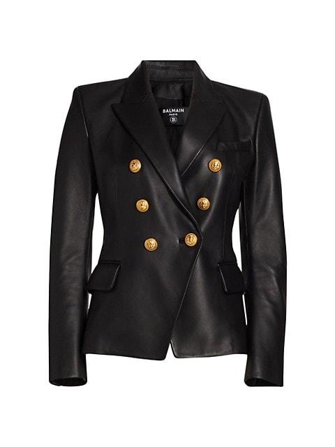 Balmain 6-Button Leather Jacket