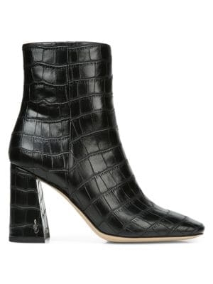 SAM EDELMAN Codie Croc-Embossed Ankle Boots