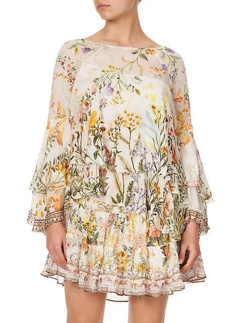 Layered Silk Floral Shift Dress