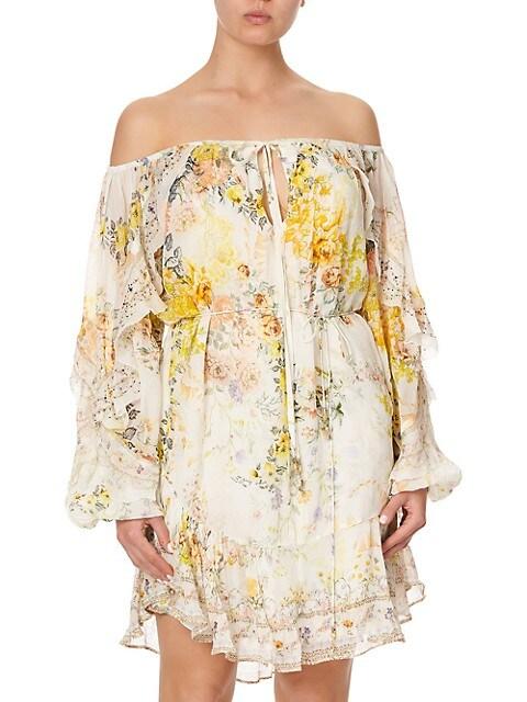 Off-The-Shoulder Silk Floral Shift Dress