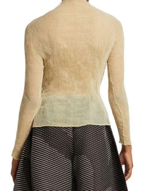 Issey Miyake Chiffon Twist Long-Sleeve Pleated Top | SaksFifthAvenue