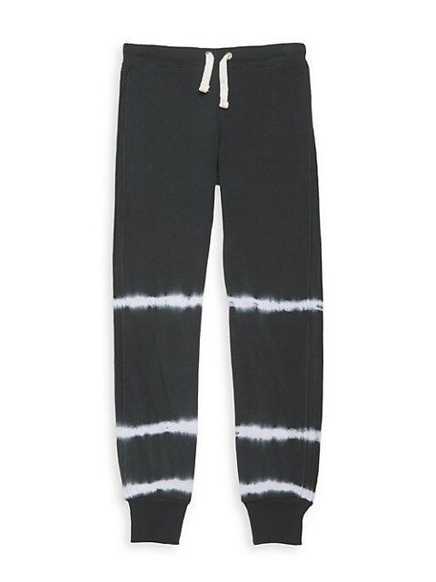Girl's Black Wash Streak Tie-Dye Joggers