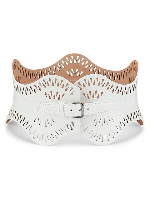 Scalloped Leather Bustier Belt
