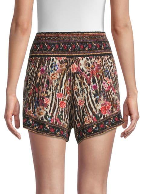 Camilla Silk Shirred Waist Shorts   SaksFifthAvenue