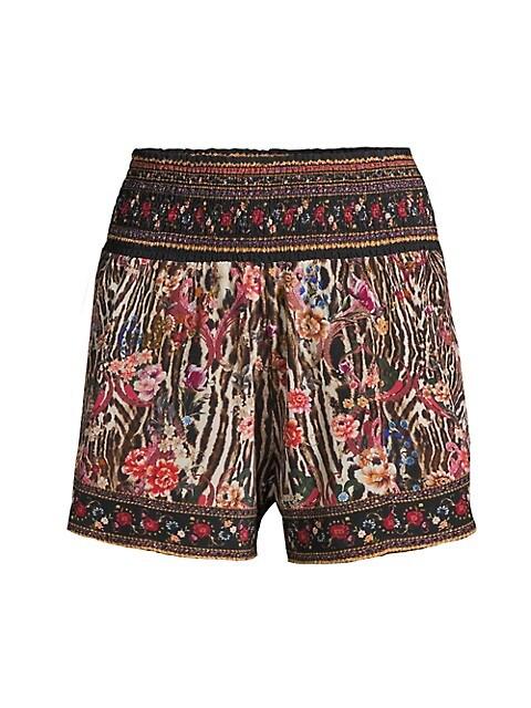 Silk Shirred Waist Shorts