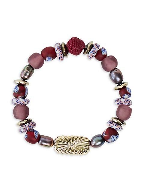 Strength Inspirational 12MM Baroque Peacock Pearl & Glass Beaded Stretch Bracelet