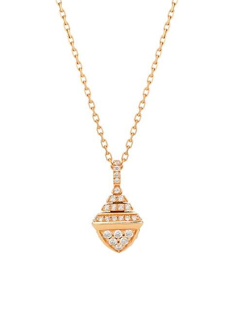 Cleo By Marli Rev 18K Rose Gold & Diamond Pendant Necklace